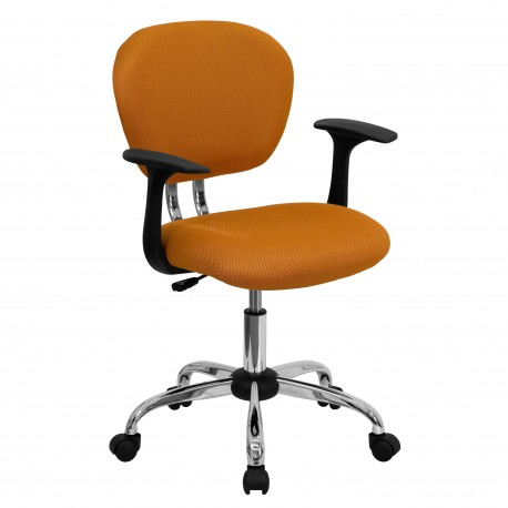 Mid-Back Orange Mesh Task Chair with Arms and Chrome Base