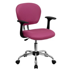 Mid-Back Pink Mesh Task Chair with Arms and Chrome Base
