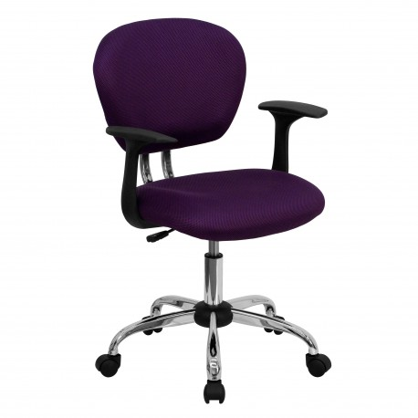 Mid-Back Purple Mesh Task Chair with Arms and Chrome Base