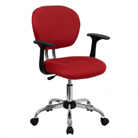 Mid-Back Red Mesh Task Chair with Arms and Chrome Base