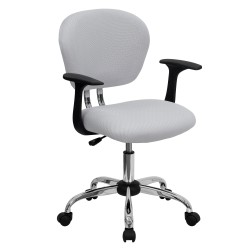 Mid-Back White Mesh Task Chair with Arms and Chrome Base