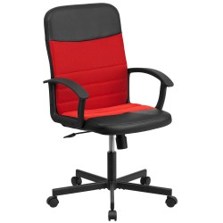 Mid-Back Black Vinyl Task Chair with Red Mesh Inserts