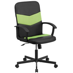 Mid-Back Black Vinyl Task Chair with Green Mesh Inserts