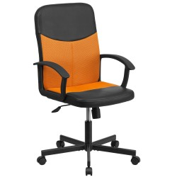 Mid-Back Black Vinyl Task Chair with Orange Mesh Inserts