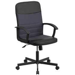 Mid-Back Black Vinyl Task Chair with Dark Gray Mesh Inserts