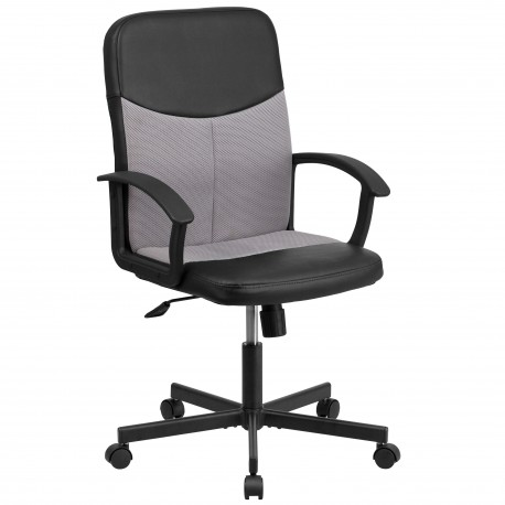 Mid-Back Black Vinyl Task Chair with Light Gray Mesh Inserts