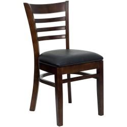 Walnut Finished Ladder Back Wooden Restaurant Chair - Black Vinyl Seat