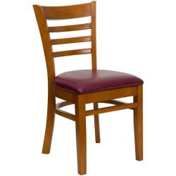 Cherry Finished Ladder Back Wooden Restaurant Chair - Burgundy Vinyl Seat