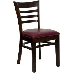Walnut Finished Ladder Back Wooden Restaurant Chair - Burgundy Vinyl Seat