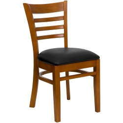Cherry Finished Ladder Back Wooden Restaurant Chair - Black Vinyl Seat