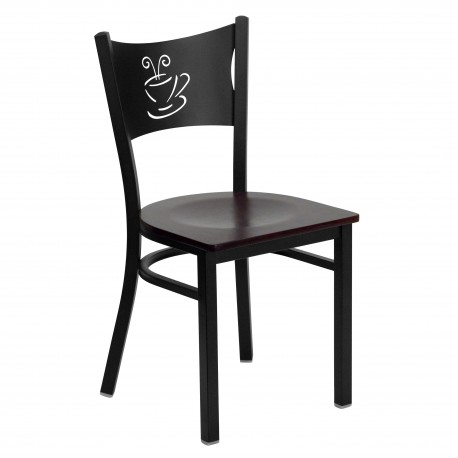 Black Coffee Back Metal Restaurant Chair - Mahogany Wood Seat