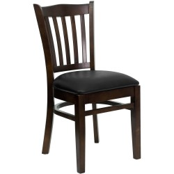 Walnut Finished Vertical Slat Back Wooden Restaurant Chair - Black Vinyl Seat