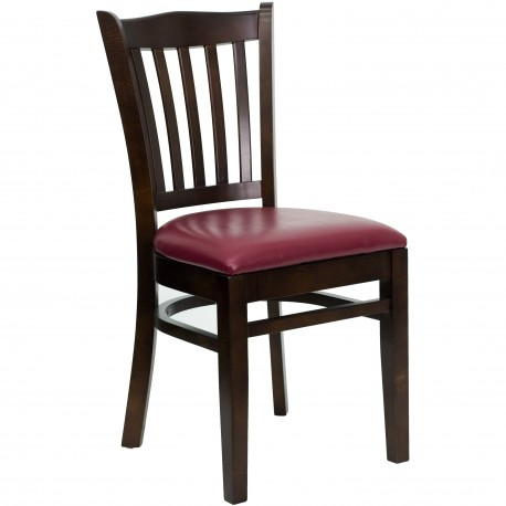 Walnut Finished Vertical Slat Back Wooden Restaurant Chair - Burgundy Vinyl Seat