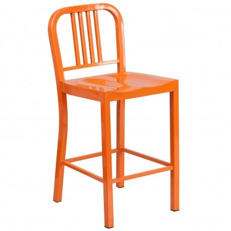 24'' Orange Metal Counter Height Stool
