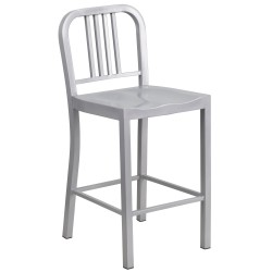 24'' Silver Metal Counter Height Stool