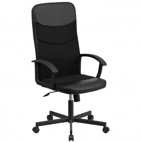 High Back Black Vinyl Executive Chair with Mesh Inserts