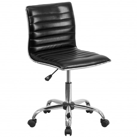 Mid-Back Armless Black Ribbed Designer Task Chair