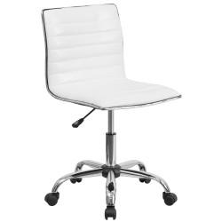 Mid-Back Armless White Ribbed Designer Task Chair