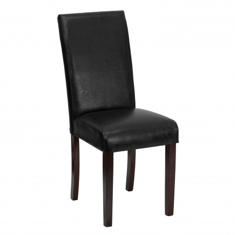 Black Leather Upholstered Parsons Chair