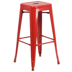 30'' Backless Red Metal Bar Stool