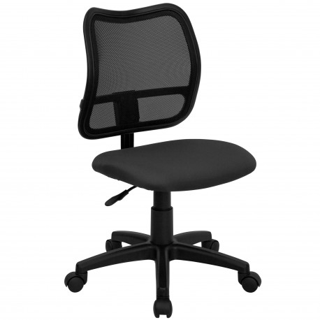 Mid-Back Mesh Task Chair with Gray Fabric Seat
