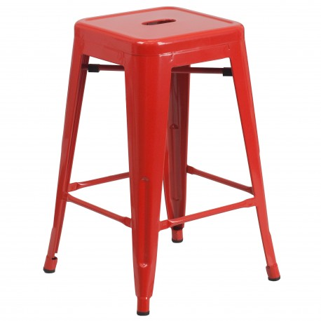 24'' Backless Red Metal Counter Height Stool