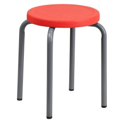 Stackable Stool with Red Seat and Silver Powder Coated Frame