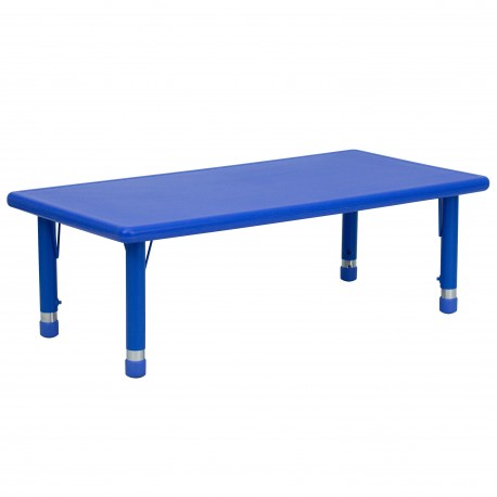 24''W x 48''L Height Adjustable Rectangular Blue Plastic Activity Table