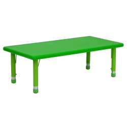 24''W x 48''L Height Adjustable Rectangular Green Plastic Activity Table