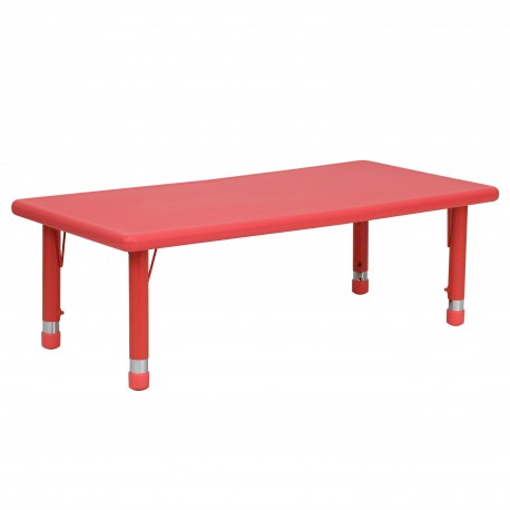 24''W x 48''L Height Adjustable Rectangular Red Plastic Activity Table