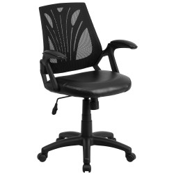 Mid-Back Black Mesh Chair with Leather Seat