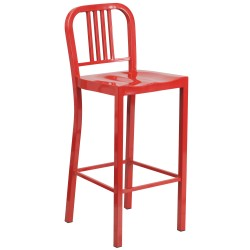 30'' Red Metal Bar Stool