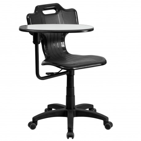 Black Mobile Task Chair with Swivel Tablet Arm