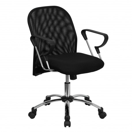 Mid-Back Black Mesh Office Chair with Chrome Base