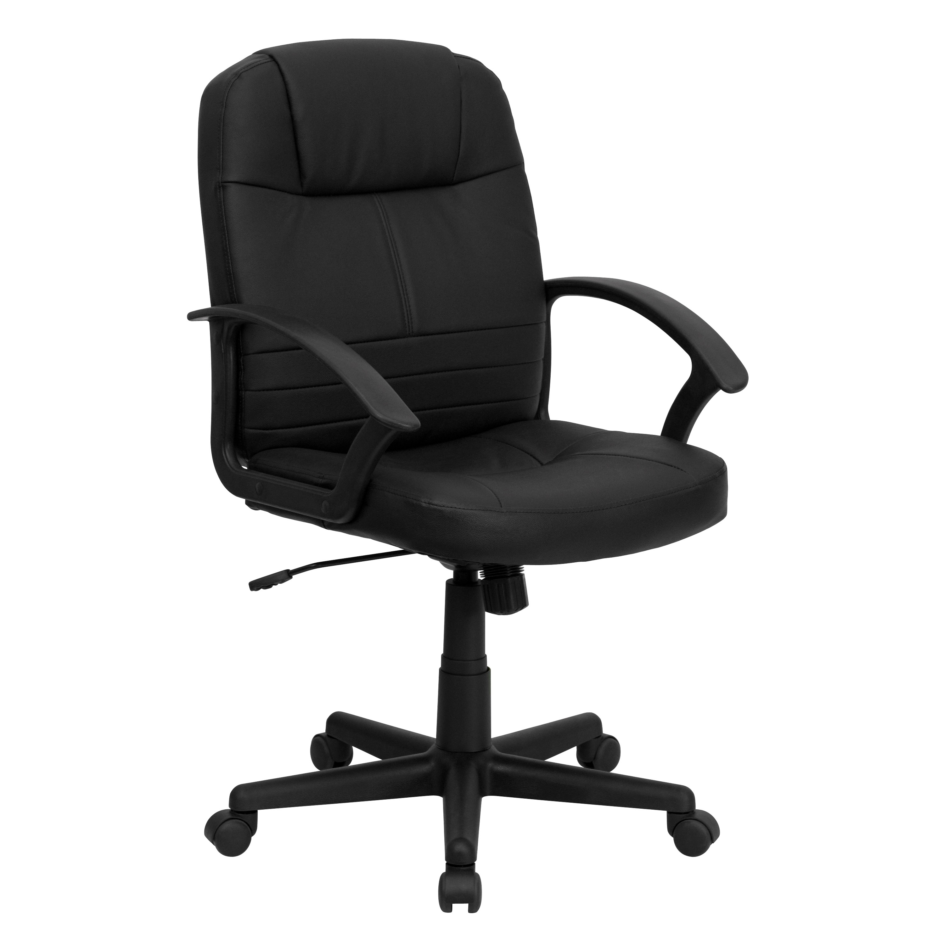 Mid Back Black Leather Executive Swivel fice Chair