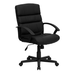 Mid-Back Black Leather Office Chair