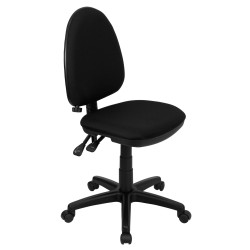 Mid-Back Black Fabric Multi-Functional Task Chair with Adjustable Lumbar Support