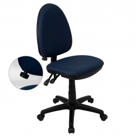 Mid-Back Navy Blue Fabric Multi-Functional Task Chair with Adjustable Lumbar Support