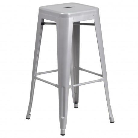 30'' Backless Silver Metal Bar Stool
