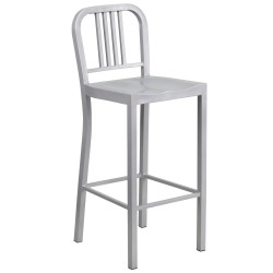 30'' Silver Metal Bar Stool