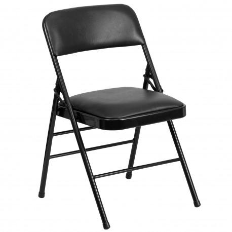 Triple Braced Black Vinyl Upholstered Metal Folding Chair