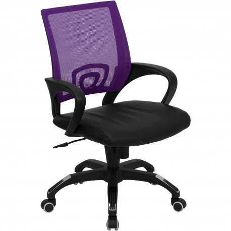 Mid-Back Purple Mesh Computer Chair with Black Leather Seat