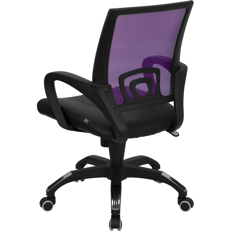 ... Mid Back Purple Mesh Computer Chair With Black Leather Seat ...