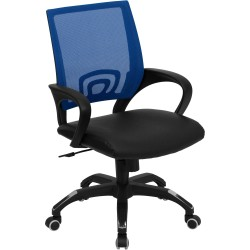 Mid-Back Blue Mesh Computer Chair with Black Leather Seat
