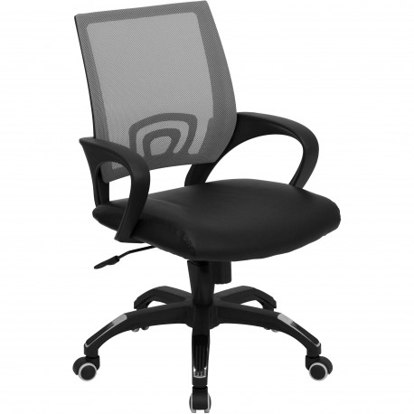 Mid-Back Gray Mesh Computer Chair with Black Leather Seat