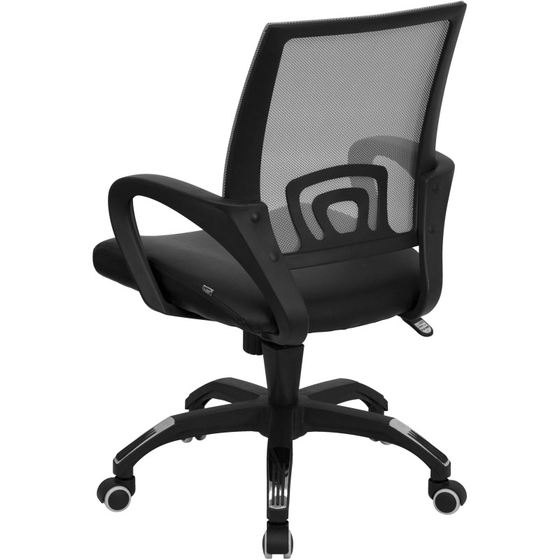 Beau ... Mid Back Gray Mesh Computer Chair With Black Leather Seat ...