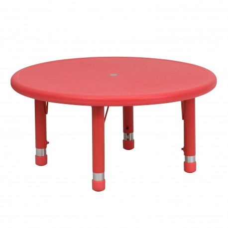 33'' Round Height Adjustable Red Plastic Activity Table