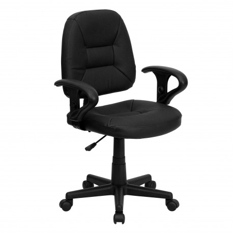 Mid-Back Black Leather Ergonomic Task Chair with Arms