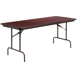 30'' x 72'' Rectangular Walnut Melamine Laminate Folding Banquet Table