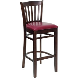 Walnut Finished Vertical Slat Back Wooden Restaurant Bar Stool - Burgundy Vinyl Seat